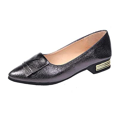 Women's Classic Pointy Toe Flat Shoes,Casual Leather Loafers for Party Work Business: Clothing