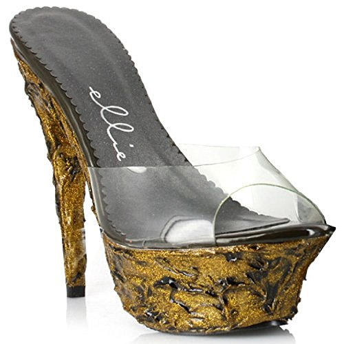 Ellie Shoes Womens 6 Inch Hak Clear Mule With Lava Textured Platform Clear W / Gold