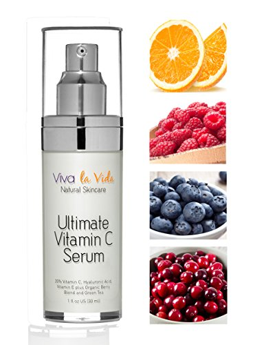 VLV Natural Skin Care Products - Best Vitamin C Serum with Hyaluronic Acid, Organic, Anti Wrinkle, Anti Aging, Brightening Cream for Face, Eyes, Neck and For Men and Women