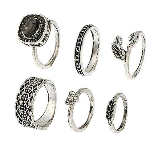 Lureme Vendimia turco diamante hoja triángulo gitana junta nudillo clavo conjunto de anillo de 6 (rg001836)