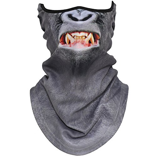 AXBXCX Animal 3D Prints Neck Gaiter Warmer Half Face Mask Scarf Windproof Dust UV Sun Protection for Skiing Snowboarding Snowmobile Halloween Cosplay Ferocious Gorilla
