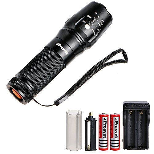 Prosvet 878 CREE XML T6 LED 1200 Lumens Portable Zoomable Tactical Flashlight - Rechargeable 18650 Batteries and Dual Charger Included - Adjustable Focus - Water Resistant Torch