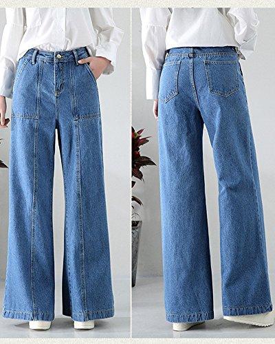 Runyue Ample Denim Bootcut en Pantalons Bleu Jeans Clair Stretch lastique Vintage Casual Vrac Taille Large Femme Haute rxqOBwPCr