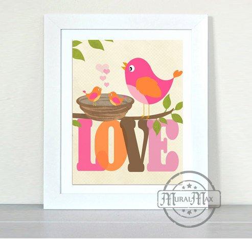 Splish Splash Baby Bath - MuralMax - Splish Splash Love Birds Taking a Bath Theme - Unframed Print - Size 11 x 14
