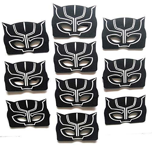 Black Panther Masks For Kids | Pack of 10 | Birthday | Party Favors | Party Supplies | Reusable | Eco Friendly Felt Masks | Great Fit | Black party favor Panther mask for birthday | By InstinctFir ()