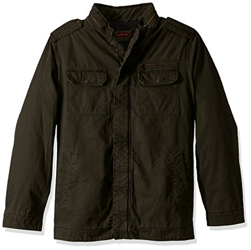 Levi's Men's Big Washed Cotton Two Pocket Sherpa Military Jacket, Olive, Large-Tall