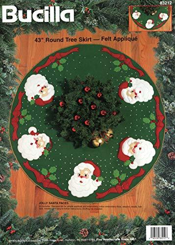 Bucilla - Jolly Santa Faces - Felt Applique Tree Skirt Kit - Tree Skirt Felt Bucilla