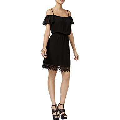 59a2ebad674 Thalia Sodi Lace Off-The-Shoulder Blouson Dress at Amazon Women s ...