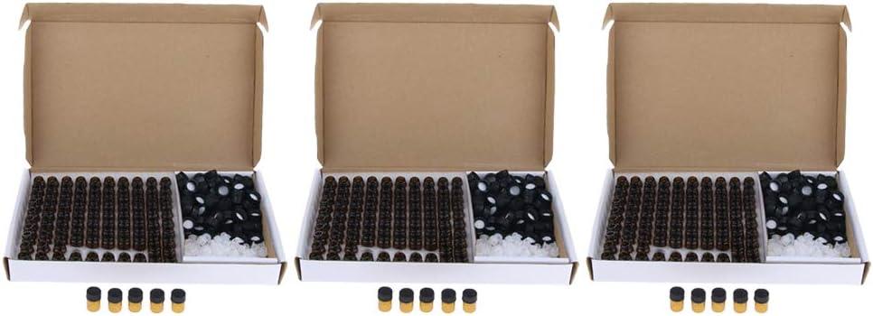 VANKOA 300 Packs 2ml Empty Glass Bottles W//Orifice Reducer Vials For Purse
