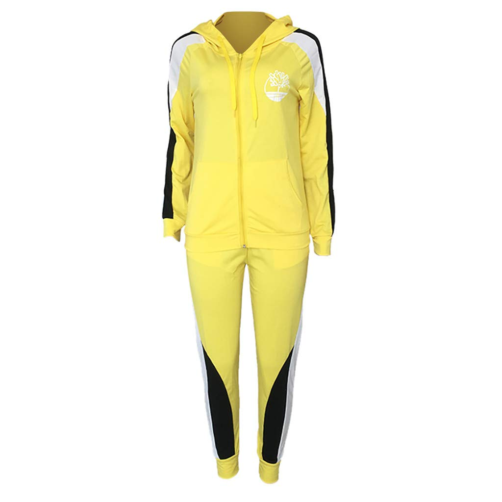 Dainzuy Women Casual Tracksuit 2 Piece Outfits Bodycon Zipper Front Elastic Waistband Stripe Long Pants Set