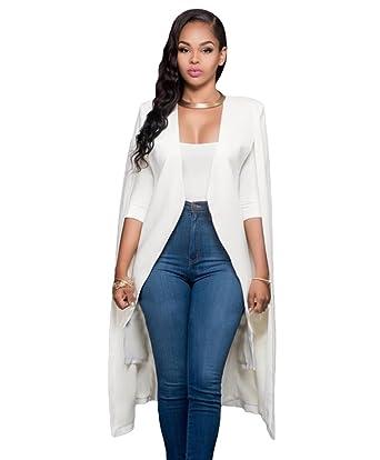 af836c88edce LINNUO Femme Mode Long Cape Élégant Ouvert Cardigan Couleur Unie sans  Manches Blazer Manteau Blanc 2XL