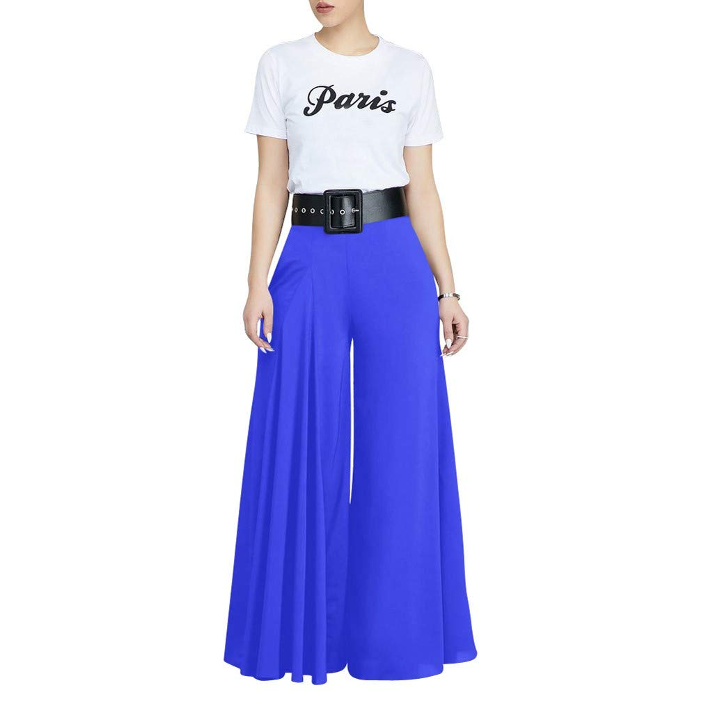 VEZAD Store Wide Leg Pants Women's Solid Pleated Loose Casual Comfortable Trousers Blue by VEZAD Store