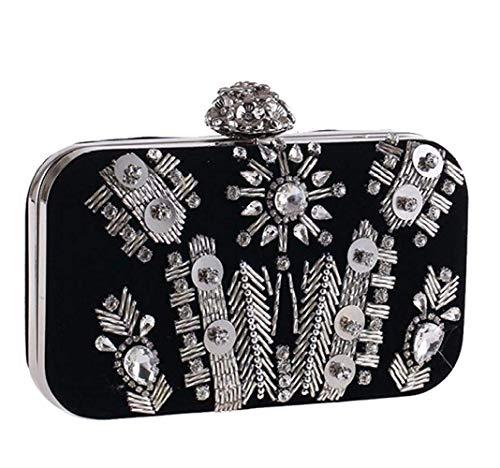 Taglia Black colore Banchetti Dimensione Unica A Borsa Borse Pile Black Diamonds Tracolla Pochette Da In Handmade Abiti Sera TZWA7xpw
