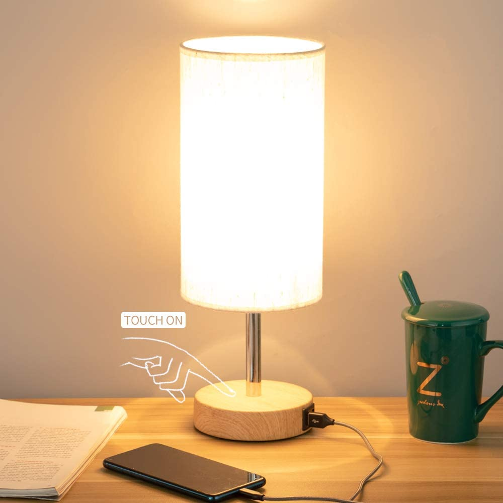 Bedside Lamp with USB port - Touch Control Table Lamp for Bedroom Wood 3 Way Dimmable Nightstand Lamp with Round Flaxen Fabric Shade for Living Room, Kids Room, College Dorm, Office(LED Bulb Included)