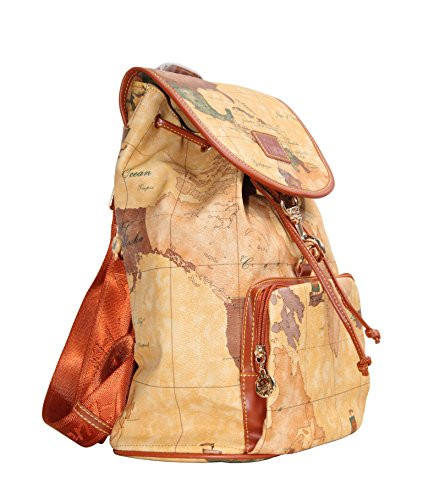 Price comparison product image B.ANGEL Retro Map Women Fashion Soft PVC Leather Waterproof Backpack Schoolbag