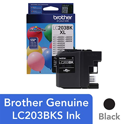 (Brother Genuine High Yield Black Ink Cartridge, LC203BK, Replacement Black Ink, Page Yield Up To 550 Pages, Amazon Dash Replenishment Cartridge, LC203)