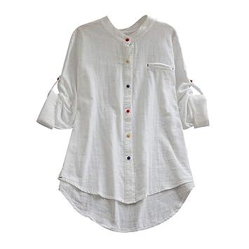 20de8c8e731 Women Solid Color Round Neck Long Sleeve Tops Loose Cotton and linen Blouse  T Shirt Blouse