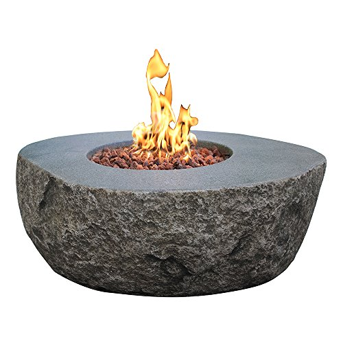 Elementi Boulder Cast Concrete Propane Fire Table, Outdoor Fire Pit Fire Table Patio Furniture, 45,000 BTU Auto-Ignition, Stainless Steel Burner, Canvas Cover & Lava Rock Included
