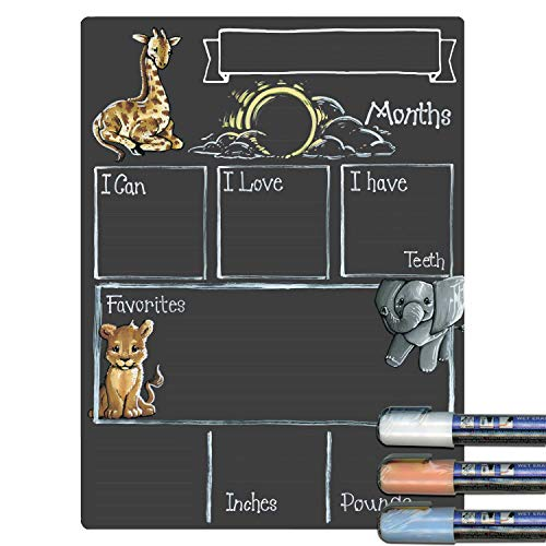 Cohas Monthly Milestone Board for Baby with Safari Theme, Reusable Chalkboard Style Surface, and Liquid Chalk Markers, 9 by 12 Inches, 3 Pastel Markers