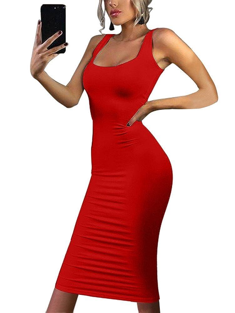 Gobles Women's Casual Bodycon Clubwear Low Cut Elegant Pencil Tank Midi Dress by Gobles