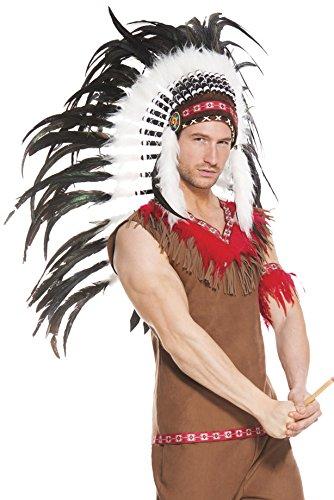Music Legs Men's Indian Tribal Headdress, White, One Size (Sexy Indian Man)