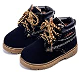 Baby's Boy's Girl's Outdoor Waterproof Lace-Up Hiking Ankle Boots (Toddler/Little Kid) Size 7 Black with Fur