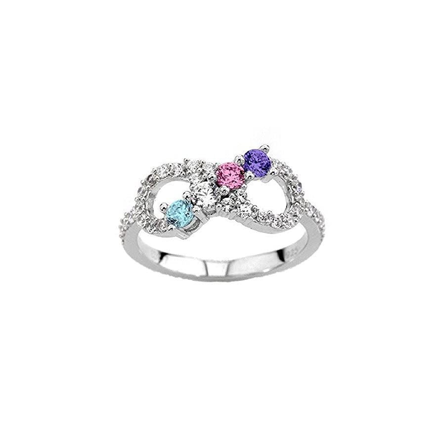 NANA Infinity Mothers Ring with 1 to 6 Simulated Birthstones in Sterling Silver or 10k Gold