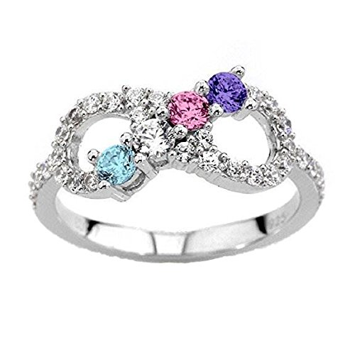 Round Stone Mother Ring (NANA Silver Infinity Mothers Ring with 1 to 6 Simulated Birthstones - Sterling Silver - Size 4)