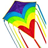 Rainbow Diamond Kite 31 Inch, Easy Flying Kites for Kids and Adults,Includes Kite Line Spool and Long Tail,Easy to Assemble for Beginner, Best Flying Toys for boy and Girl for the Beach,Park and square