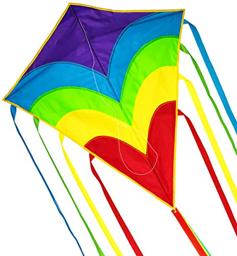 Zhuoyue Rainbow Diamond Kite,Single Line Beginner Kite for Kids and Adults,Long Tail Easy to Fly Kites for The Beach Park Outdoor Flying Toys ()