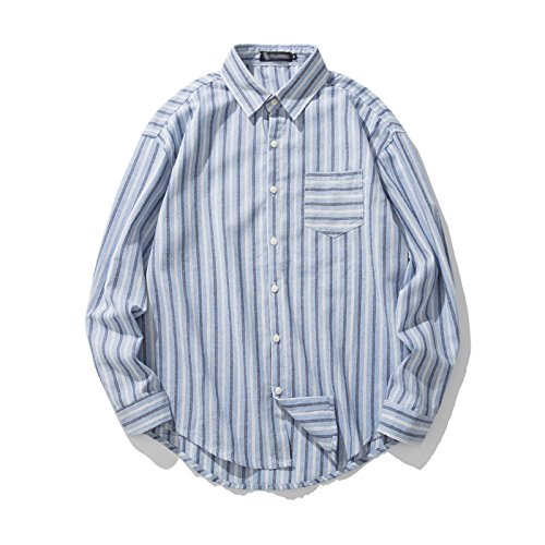 Einfache männer Hemd, Schulter gestreift langärmliges Hemd, modische Jugend lässig Hemd,Blau,XL