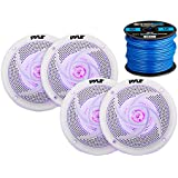 4x Pyle Marine 5.25 2-Way Waterproof White Low Profile Slim Style Speakers w/Optional LED, 16-Gauge 50 Foot Tinned Speaker Wire