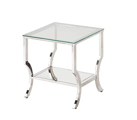 Coaster 720337-CO 1 Shelf Glass Top End Table, Chrome