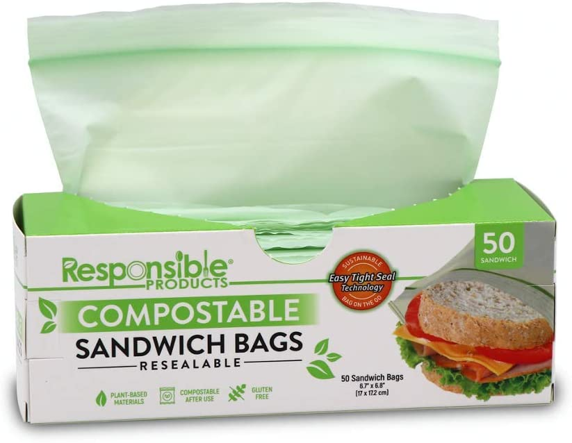 Responsible Products Home Compostable SANDWICH Zip Bag, Resealable Extra Strength Biodegradable Bags, Plant-Based Freezer-Safe (50 Pack)