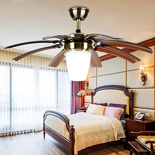 Akronfire Simple Modern Ceiling Fan Light for Decorate Bedroom Living Room Remote Control Silent Invisible Fans Chandelier with 1 Lamp Shade 8 Retractable Take Off Blades of 42 Inch Brown