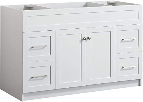 DKB Bradford Series 54 Inch Bathroom Vanity Base Cabinet in White Center Sink Configuration Built in Toe Kick 2 Soft Closing Doors 4 Full Extension Dovetail Drawers