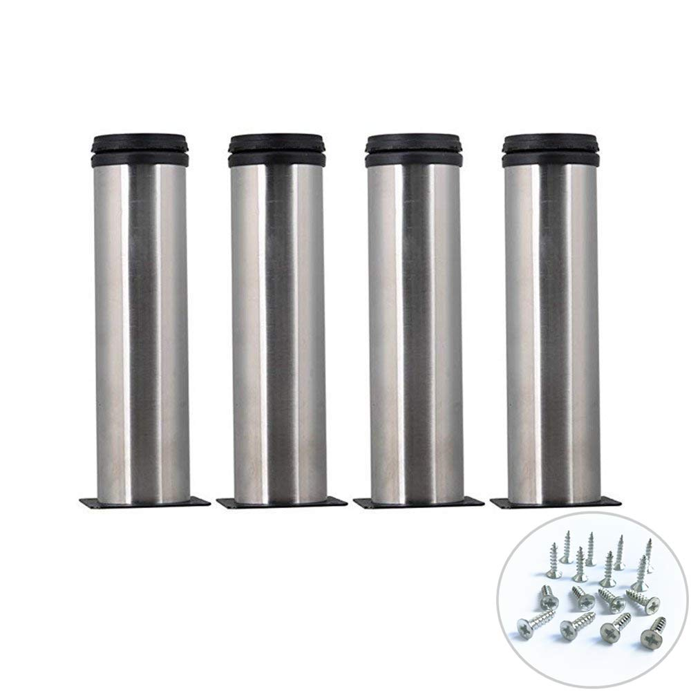 Aowish 4 pack 150 mm6 inch stainless steel furniture cabinet metal legs round 2 dia shelves sofa table kitchen adjustable feet with 16 screws silver