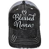 White Glitter Blessed Nana Distressed Look Grey Trucker Cap