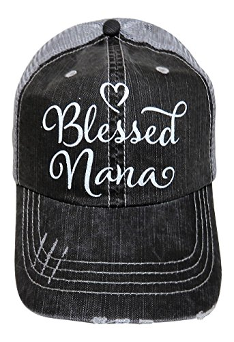 White Glitter Blessed Nana Distressed Look Grey Trucker - Hat Trucker Nana
