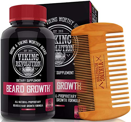 Viking Revolution Men's Beard Growth Vitamin Supplement Tablets - Potent Pills for Maximum Facial Hair Growth for Men - Includes Beard Comb (Best Beard Growth Oil For Patchy Beard)