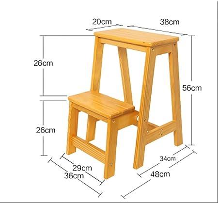 YWTD Escaleras Plegables Taburete de Paso de Madera Maciza Escalera doméstica multifunción Espesor Interior Plegado de 2 escalones Escalera pequeña Escalera para sillas taburetes (Color : B): Amazon.es: Hogar