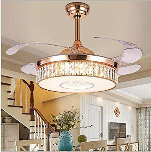 42 inches Crystal Dimmable Ceiling Fan Light Remote Control Luxury LED Silent Indoor Reversible Ceiling Chandelier Lighting Rose Gold