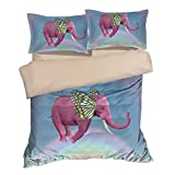 Fantastic Pink Butterfly Ear Elephant Cotton Microfiber 3pc 80''x90'' Bedding Quilt Duvet Cover Sets 2 Pillow Cases Full Size