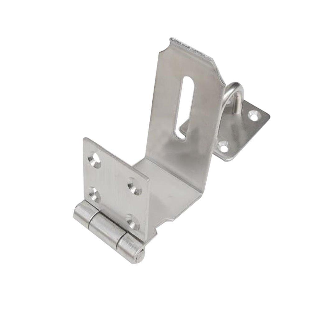 Haidong Thicken 304 Stainless Steel 90 Degree Door Buckle Clasp Anti-theft Wooden Door Hasp Lock (5 inch: L shape size: 55mm75mm)