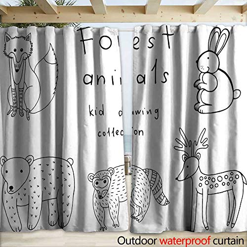 Collection Childs Billy (warmfamily Porch Curtains Kids Drawing of Animals Doodle Collection of Funny Coloring pag Drapery W120 x L84)