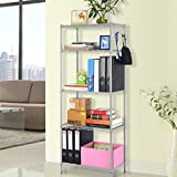 LANGRIA 5 Tier Storage Shelf Wire Shelving Unit Free Standing Rack Organization with Adjustable Leveling Feet, Silver Grey