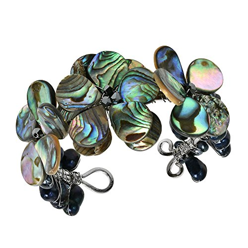 (AeraVida Abalone Shell & Cultured Freshwater Black Pearl Cluster Flower Cuff)