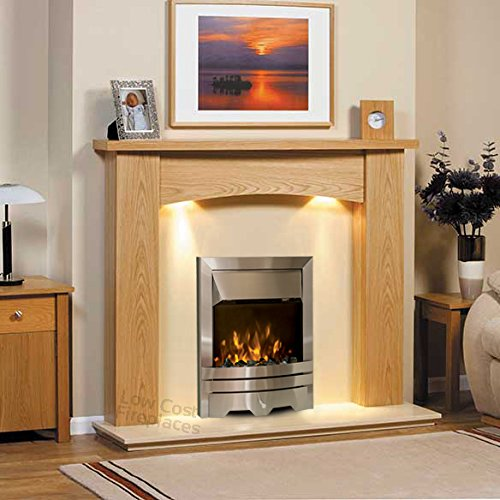 Solid Oak Surround Suite Cream Marble Stone Electric Silver Fire