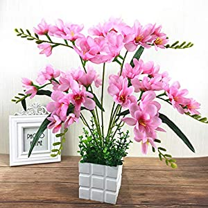 ROWEQPP Artificial Freesia Flower with 9 Branches for Home Living Room Decor (not Including Flowerpot) Pink