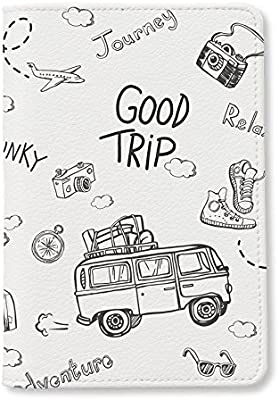 Cartoon Passport Holder Cover Symbol Of Science And Education Stylish Pu Leather Travel Accessories Passport Cover Set For Women Men